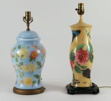 TWO DECOUPAGE TABLE LAMPS,