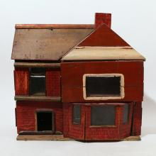 PAINTED FOLK ART DOLL HOUSE