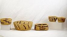 Group of 5 Papago baskets