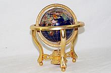 Lapis inlaid Globe on brass frame with compass