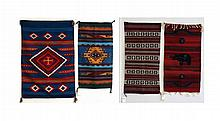 Four  Navajo Rugs Red Bear, Red Crosses ++