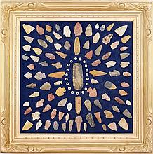 Native Am. Arrowhead points display framed 27