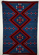 Navajo Rug Blue w/ Red & white crosses & arrows