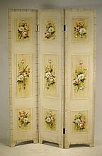 Floral screen - 3 panel hand painted