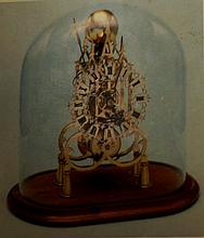 Fusee Skeleton clock w glass dome