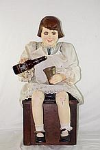 Rare Vintage Mechanical Automaton Root Beer Girl