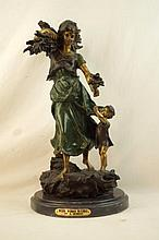 After Moreau bronze - woman w child