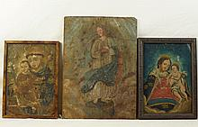 Three Spanish Colonial paintings on tin