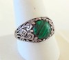 Sterling filigree vintage malachite ring