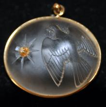 Gold rock crystal diamond pendant/dove