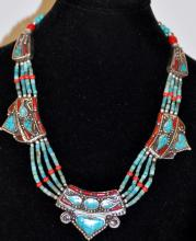 Turquoise coral necklace-American Indian design