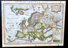 18th c European map -hand colored