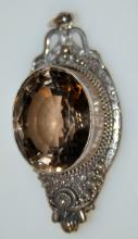 Vintage sterling gemstone pendant/smoky quartz