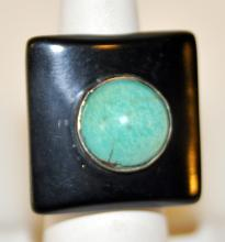 Sterling turquoise ring/black band