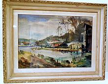 Nautical vintage signed watercolor/ship