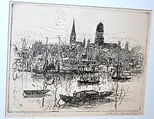 Etching 1926 Hayley Lever, Gloucester City Mass