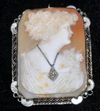 14k cameo antique pin/pendant w/ diamond