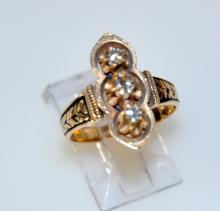 14k diamond ring /niello