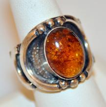 Sterling custom amber vintage ring
