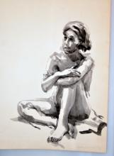 Nude woman watercolor signed Cynthia Hullinger