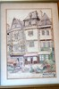 French watercolor vintage signed
