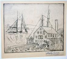 Hayley Lever etching/1935-Gloucester Mass.