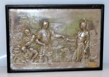 Antique plaque/Indians and Dutch/trading