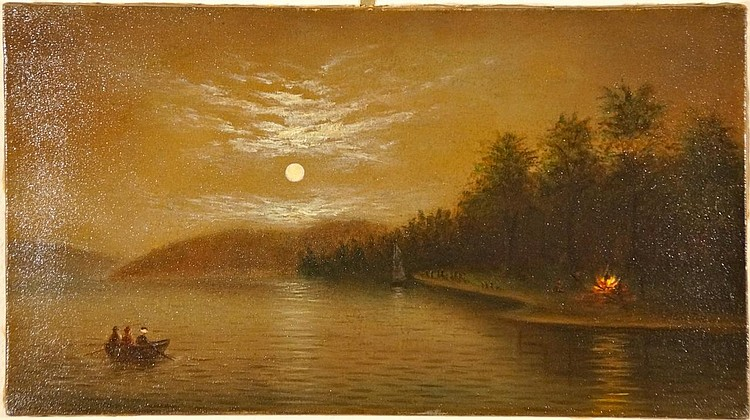 Hudson River School Luminist Indian Campfire 19th century