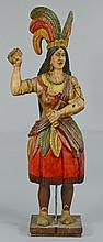Cigar Store Indian Princess, Painted and Carved