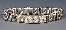 David Yurman Sterling Silver Diamond ID bracelet