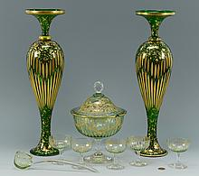 Green Bohemian Glass Vases & Punch Set