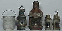 4 Ship Lanterns & Navy Bucket