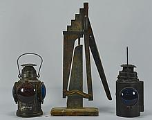 2 Railroad Lanterns & Painted Wagon Lift