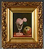 John Francis  o/c Still Life with apple and peonies, John F Francis, $400