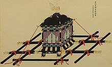 Japanese Gouache - Norimono or sedan chair