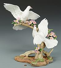 Boehm Doves w/ Apple Blossoms