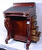 HAND CARVED MAHOGANY DAVENPORT DESK WITH LEATHER TOP