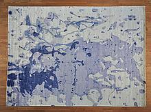 MODERN HAND PAINTED ABSTRACT AND HAND KNOTTED AREA RUG