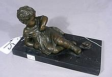 ADORABLE BRONZE SCULPTURE:  YOUNG GIRL WITH FROG