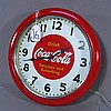 ROUND METAL COCA COLA CLOCK WITH NEON LIGHTING