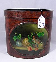 OVAL HAND PAINTED WASTE BASKET