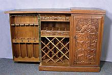 HAND CARVED ORIENTAL WOODEN BAR