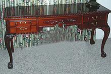 CHIPPENDALE STYLE HAND CARVED MAHOGANY CONSOLE