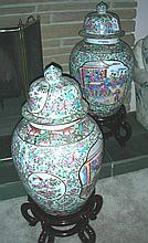 PAIR CHINESE PORCELAIN COVERED URNS