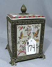 BEAUTIFUL PORCELAIN AND BRONZE COVERED BOX