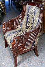 VERY FINE HAND CARVED MAHOGANY AND UPHOLSTERED SWAN ARMCHAIR