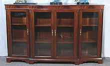 LARGE HAND CARVED BURLWOOD MAHOGANY BOOKCASE