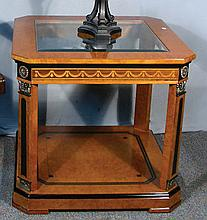 FINE ITALIAN INLAID WOOD TABLE WITH GLASS INSERT