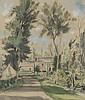 André DIGNIMONT (1891-1965). «Le jardin». Aquarelle et traits d'encre. Signée en bas à gauche. 50 x 42 cm.