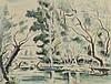André DIGNIMONT (1891-1965). «Cours d'eau, 1947». Aquarelle et traits d'encre. Signée et datée en bas à droite. 47 x 62 cm.